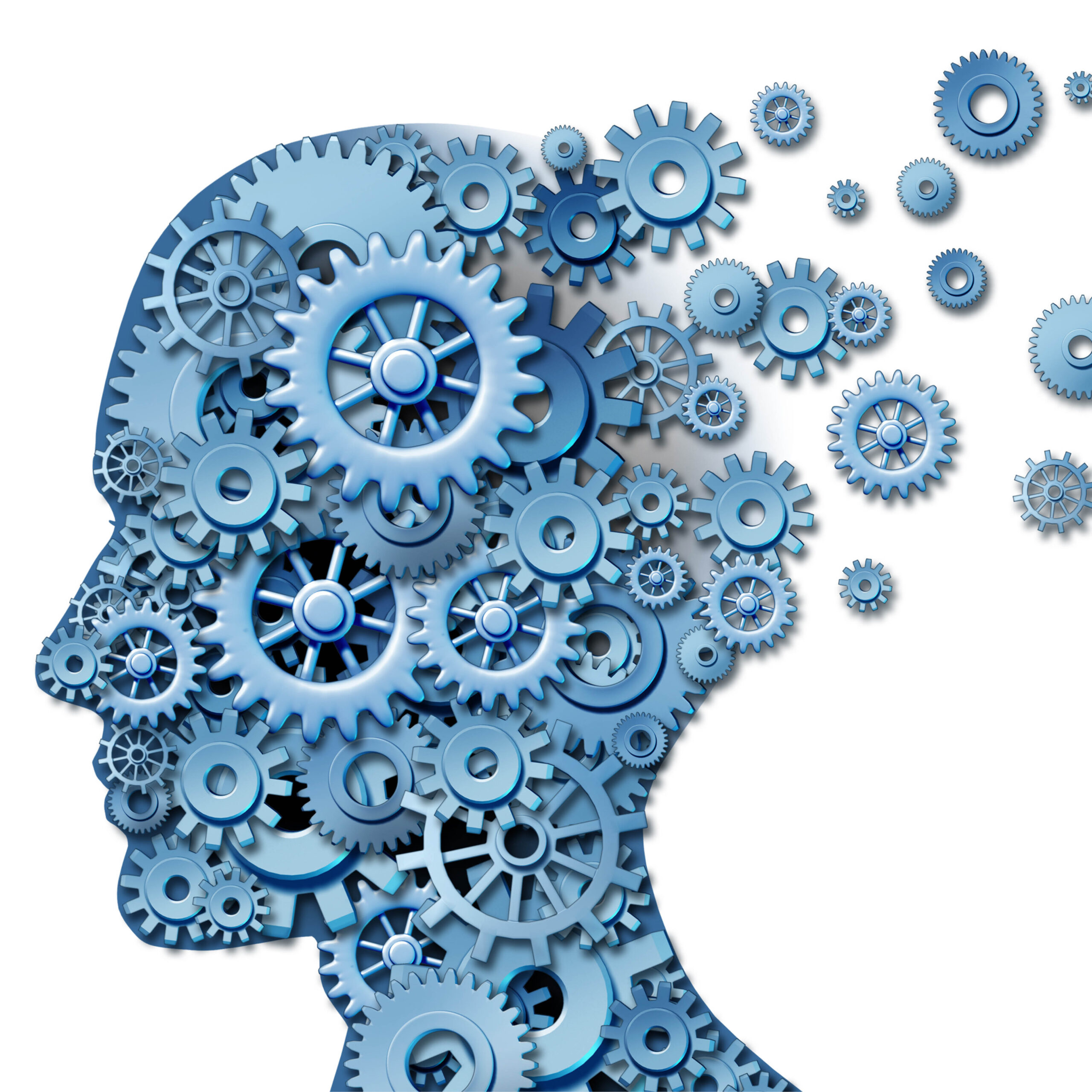 Cogs inside the head of a person