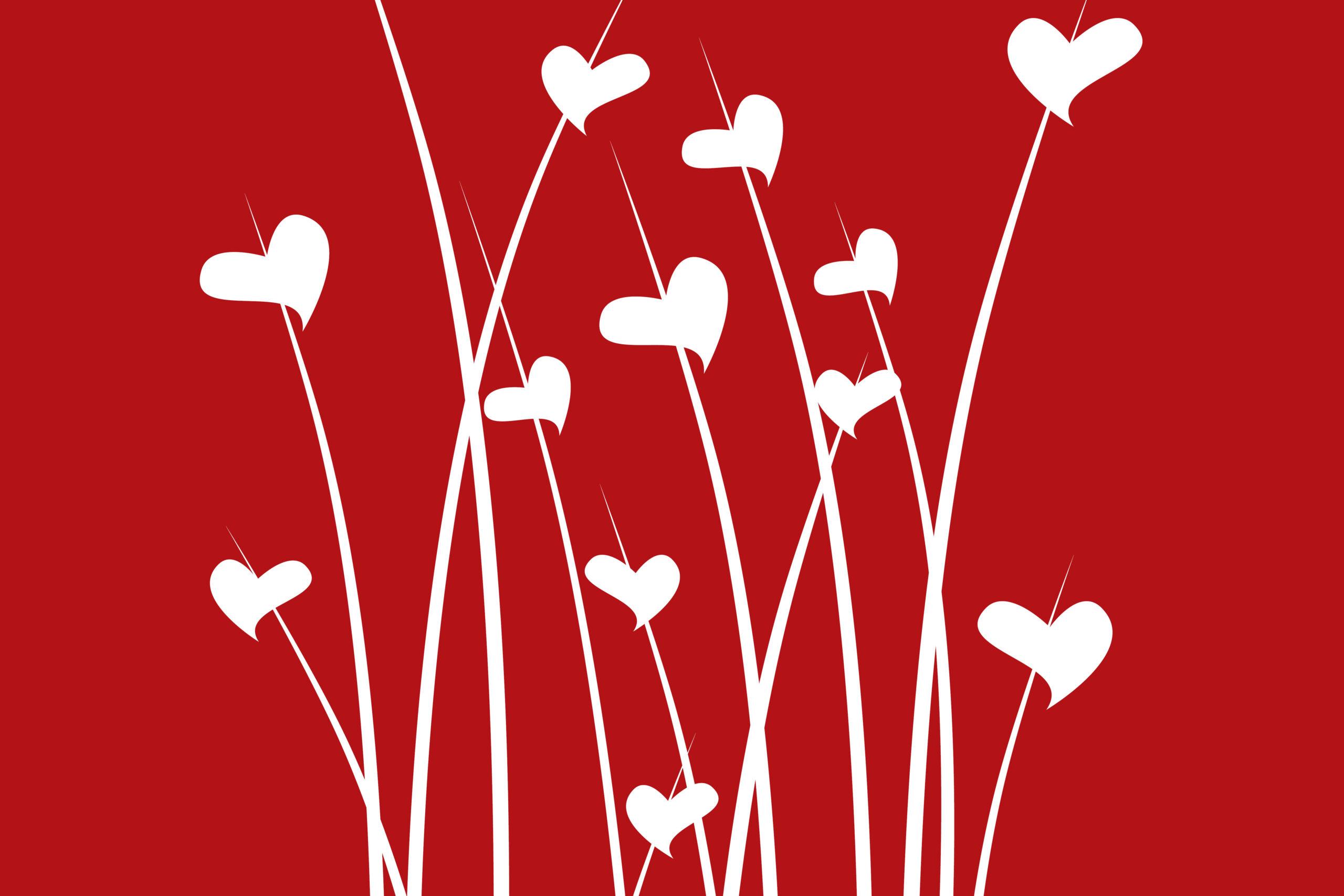 joyful hearts on flower stalks
