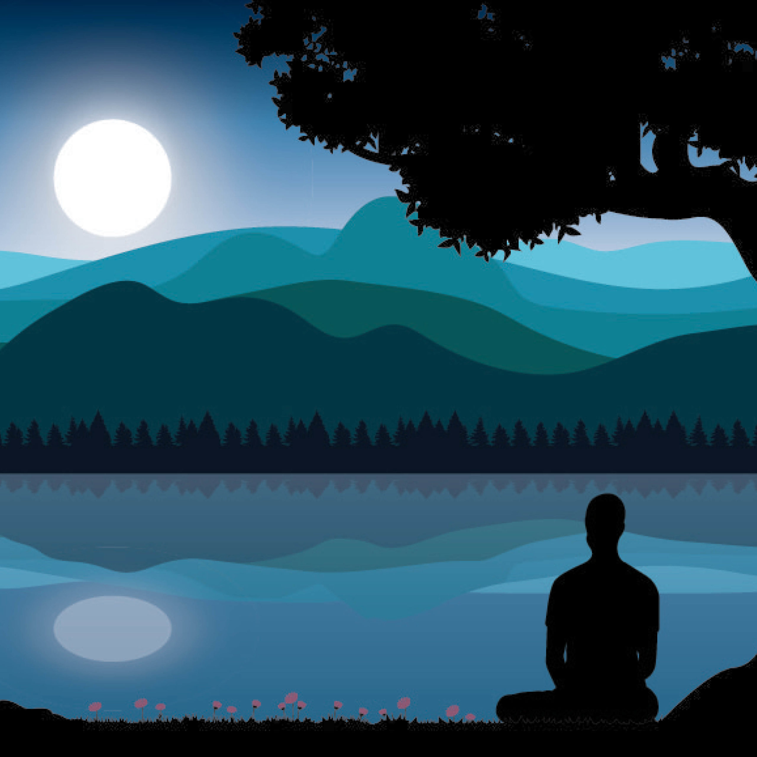 man meditating under a tree with the moon in the background as a metaphor for the path to pure happiness